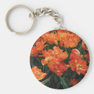 Orange tulips with droplets in spring basic round button keychain