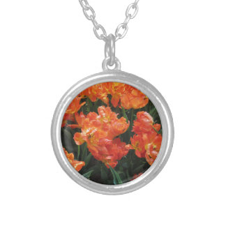 Orange tulips with droplets in spring silver plated necklace