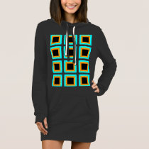 Orange turquoise blue black squares pattern dress