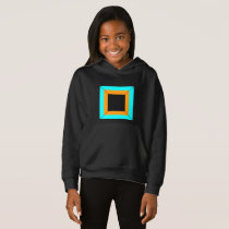 Orange turquoise blue black squares pattern hoodie