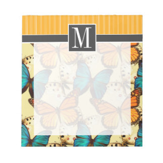 Orange & Turquoise Butterflies; Butterfly Scratch Pad