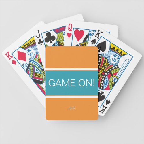 Orange  Turquoise GAME ON Quote Monogrammed Bicycle Playing Cards