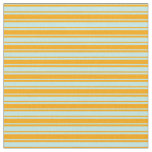 [ Thumbnail: Orange & Turquoise Lines Pattern Fabric ]