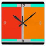 Orange Turquoise Modern Art Decor Clock 2