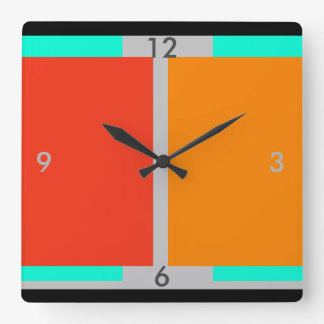 Orange Turquoise Modern Art Decor Clock 2