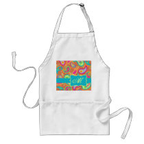 Orange Turquoise Modern Paisley Pattern Monogram Adult Apron