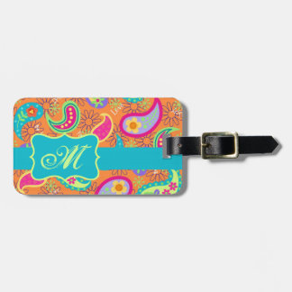 Orange Turquoise Modern Paisley Pattern Monogram Luggage Tag
