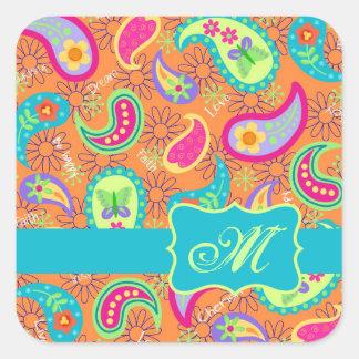 Orange Turquoise Modern Paisley Pattern Monogram Square Sticker