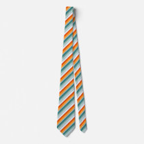Orange Turquoise Stripes Neck Tie