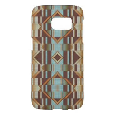 CaseConceptCreations Orange Turquoise Taupe Brown Tribal Mosaic Pattern Samsung Galaxy S7 Case