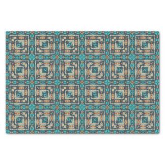 "Orange Turquoise Teal Native Tribal Mosaic Pattern 10"" X 15"" Tissue Paper"