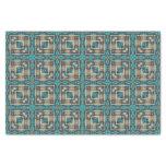 Orange Turquoise Teal Native Tribal Mosaic Pattern Tissue Paper