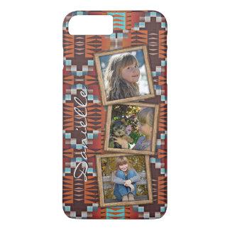 Orange Turquoise Teal Red Tribal Mosaic Pattern iPhone 7 Plus Case