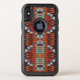 Orange Turquoise Teal Red Tribal Mosaic Pattern OtterBox Commuter iPhone X Case