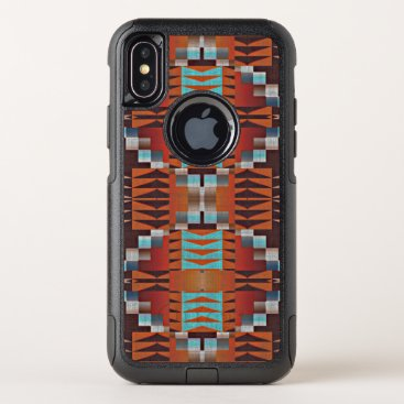 CaseConceptCreations Orange Turquoise Teal Red Tribal Mosaic Pattern OtterBox Commuter iPhone X Case