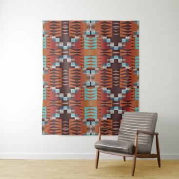 Aztec Themed Orange Turquoise Teal Red Tribal Mosaic Pattern Tapestry