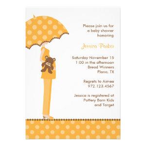 Orange Umbrella Mom Baby Shower Invitations