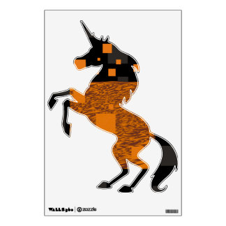 Orange unicorn majestic horse fantasy creature art room graphic