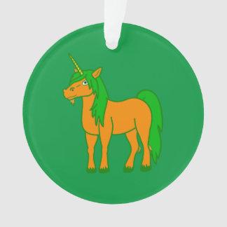 Orange Unicorn with Green Mane Ornament