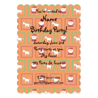 Orange unicorns santa claus pattern 5x7 paper invitation card