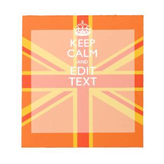 Orange Union Jack British Flag Swag Notepad