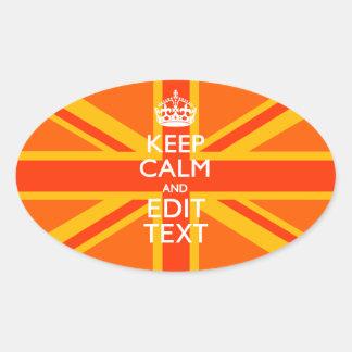 Orange Union Jack British Flag Swag Oval Sticker