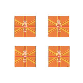 Orange Union Jack British Flag Swag Stone Magnet