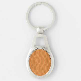 Orange Vertical Stripes Pattern Silver-Colored Oval Metal Keychain