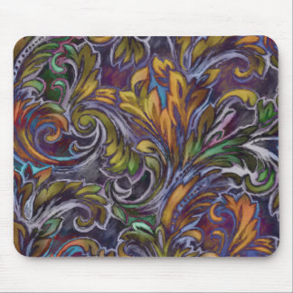 Orange Vibrant Abstract Damask Mouse Pad
