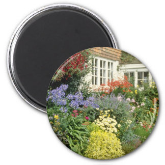 Orange View Of House And Porch With Border - Catmi 2 Inch Round Magnet