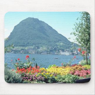Orange Views of public gardens, Lugano, Switzerlan Mouse Pad