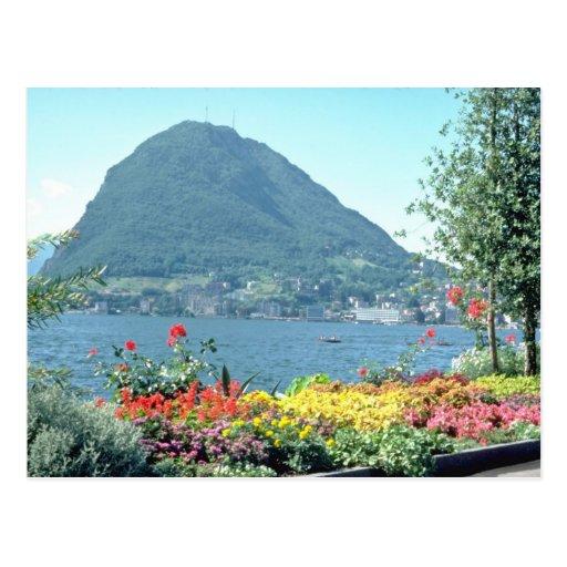 Orange Views of public gardens, Lugano, Switzerlan Postcards