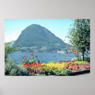 Orange Views of public gardens, Lugano, Switzerlan Poster