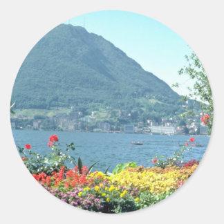 Orange Views of public gardens, Lugano, Switzerlan Stickers
