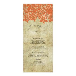 Orange Vintage Country Wedding Menu Custom Announcements
