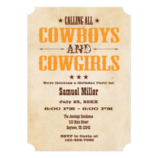 Orange Vintage Cowboy Birthday Invitation