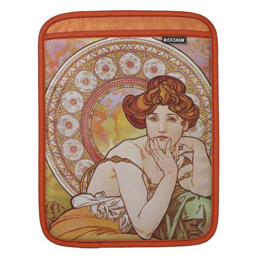 Orange Vintage Elegant Art Nouveau Mucha Topaz iPad Sleeve
