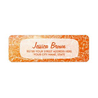 Orange Vintage Floral Art Custom Address Label