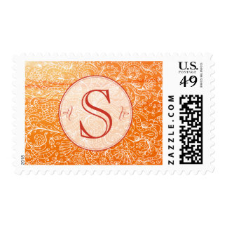 Orange Vintage Floral with Custom Monogram Stamps
