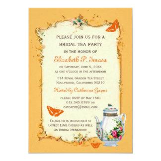 Orange Vintage French Bridal Tea Party Card
