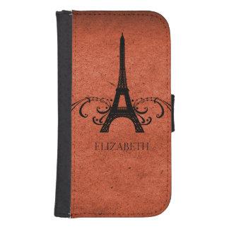 Orange Vintage French Flourish Galaxy S4 Wallet Case