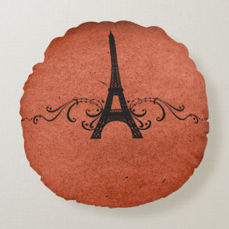 Orange Vintage French Flourish Round Pillow