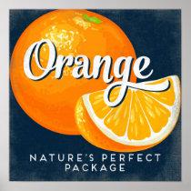 Orange Vintage Fruit Label Poster
