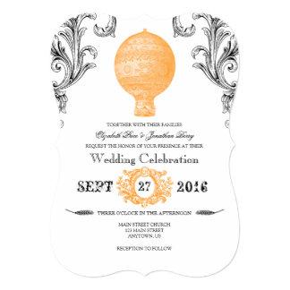 Orange Vintage Hot Air Balloon Wedding Invites