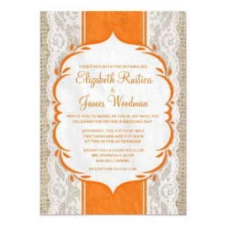 Orange Vintage Linen Burlap Wedding Invitations