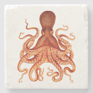 Orange Vintage Octopus Illustration Stone Coaster