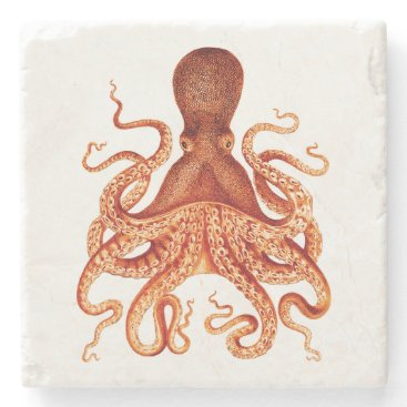 Beach Themed Orange Vintage Octopus Illustration Stone Coaster