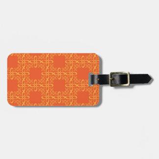 Orange Vintage Retro Pattern Bag Tag