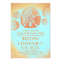 Orange vintage sand dollars beach wedding invites