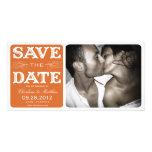 ORANGE VINTAGE    SAVE THE DATE ANNOUNCEMENT PHOTO GREETING CARD